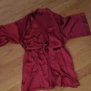 Victoria's secret satin robe kimono Ruby red